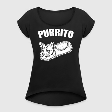 Purrito - Women's T-shirt with rolled up sleeves