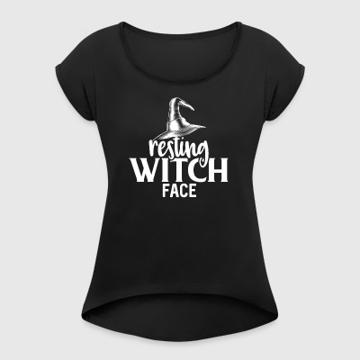 Resting Witch Face - Women's T-shirt with rolled up sleeves