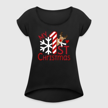 My first Christmas - Frauen T-Shirt mit gerollten Ärmeln