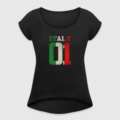 Italy 01 italia italy queen king ra regina familia - Women's T-shirt with rolled up sleeves