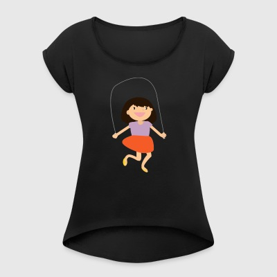 jumping jump rope skipping - Women's T-shirt with rolled up sleeves