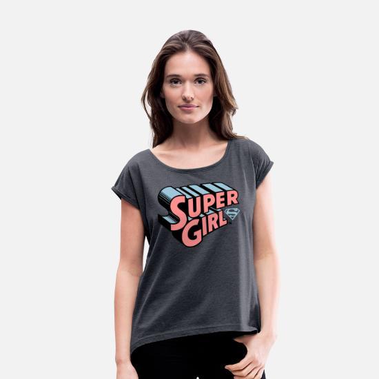 Supergirl Logo Original T shirt med rulleærmer dame
