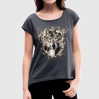 Wolf with Rose, Love Symbol, Wolves, Nature - Vrouwen T-shirt met opgerolde mouwen
