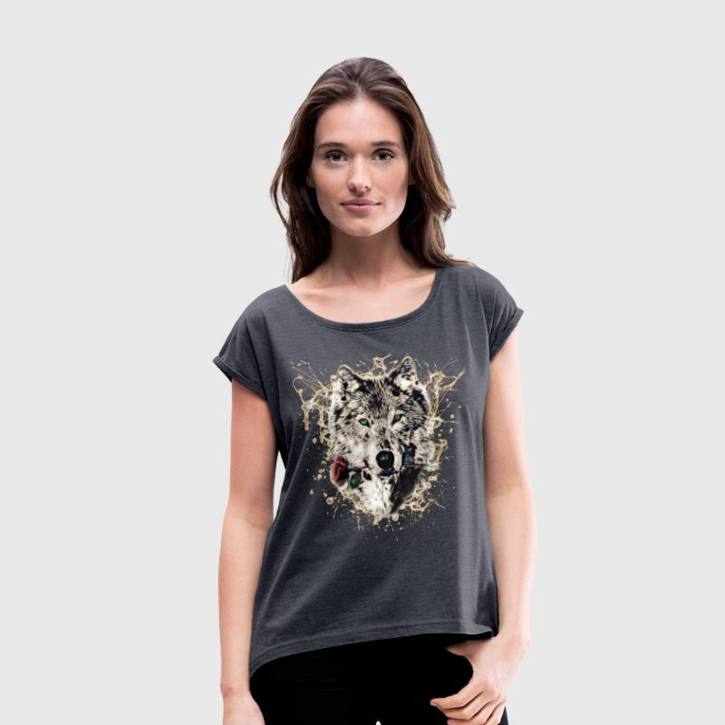 Wolf with Rose, Love Symbol, Wolves, Nature - Women's T-shirt with rolled up sleeves