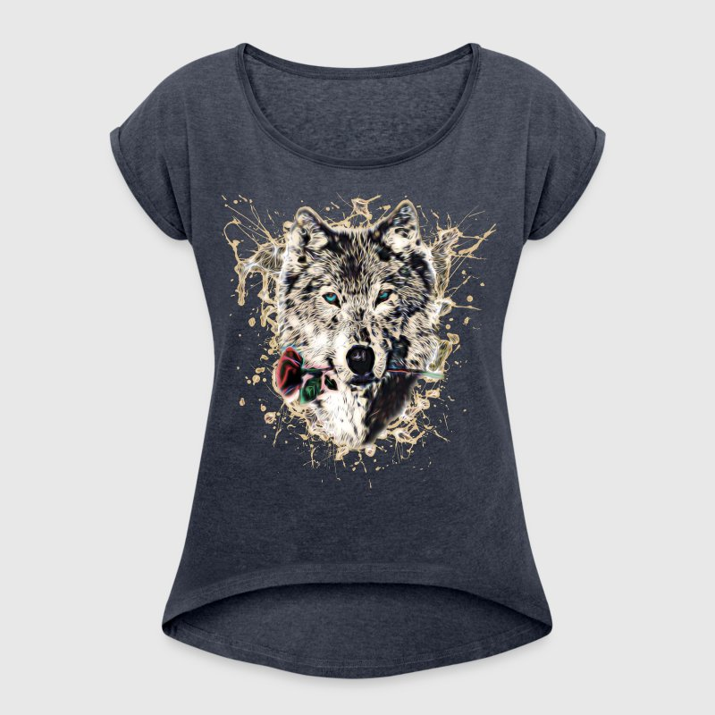 Wolf with Rose, Love Symbol, Ulv, Nature - Dame T-shirt med rulleærmer