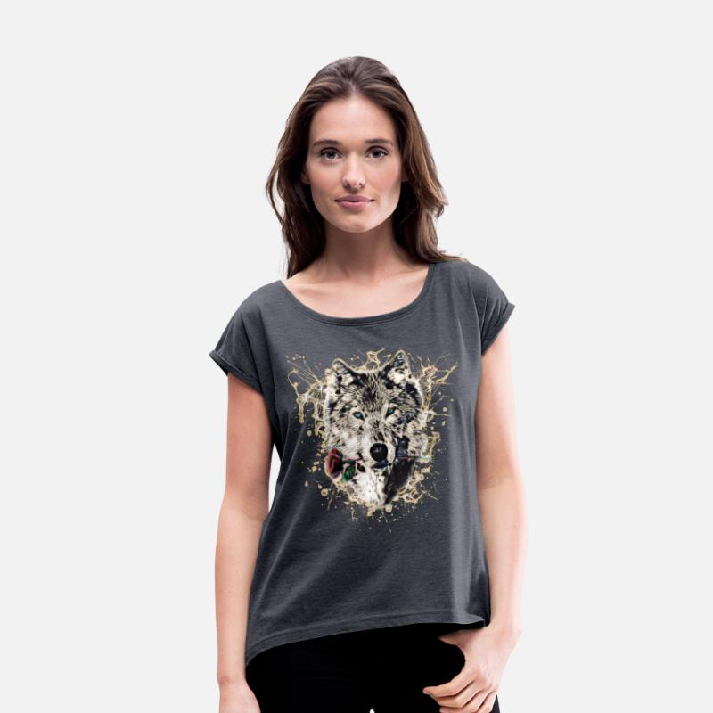 Wolven T-Shirts - Wolf with Rose, Love Symbol, Wolves, Nature - Vrouwen T-shirt met opgerolde mouwen navy gemêleerd
