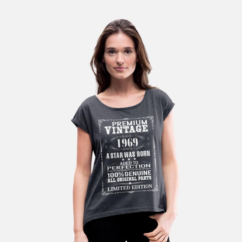 1969 T-Shirts - PREMIUM VINTAGE 1969 - Women's Rolled Sleeve T-Shirt navy heather