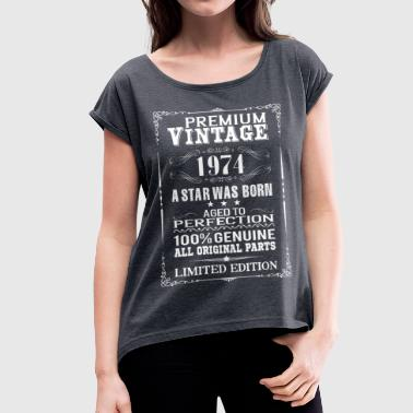 PREMIUM VINTAGE 1974 - Women's T-shirt with rolled up sleeves