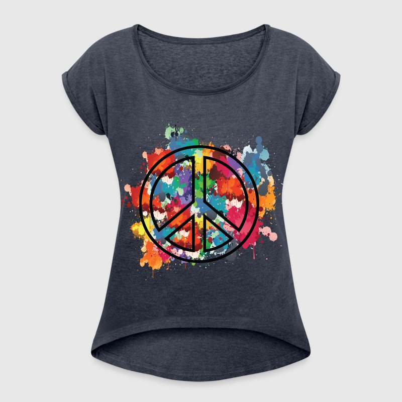 Paint peace symbol - Women's T-shirt with rolled up sleeves