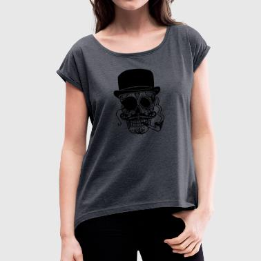 Sugar Skull - Women's T-Shirt with rolled up sleeves