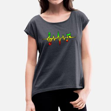 Reggae Reggae, music, notes, pulse, frequency, Rastafari - Vrouwen T-shirt met opgerolde mouwen
