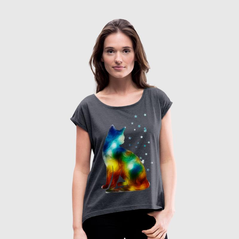 Space Cat on the Milky Way, Galaxy, Pussy, Star - Women's T-shirt with rolled up sleeves