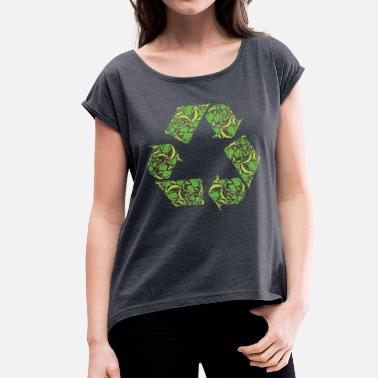 Sustainable Development Recycling Clean Green Clean World Sustainability - Women's T-Shirt with rolled up sleeves