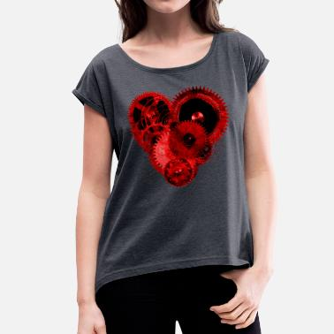 Poppycock And Cheapskate Steampunk Valentine Heart Coloured Ceramic Mug - Women's T-Shirt with rolled up sleeves