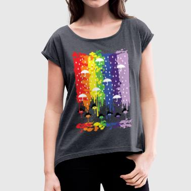 Rainbow rainy day - Women's T-shirt with rolled up sleeves