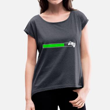 Percent Loading Loading Game Loading bar loading upload Install - Women's T-Shirt with rolled up sleeves