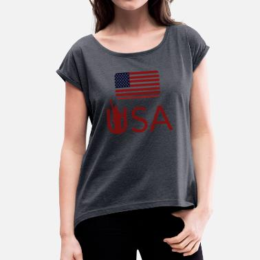 State Flag United States flag - Women's T-Shirt with rolled up sleeves
