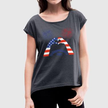 Independence Day, USA Independence Day - Women's T-Shirt with rolled up sleeves