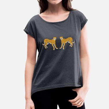 African Animals Leopard African animals 1/5 - Women's T-Shirt with rolled up sleeves