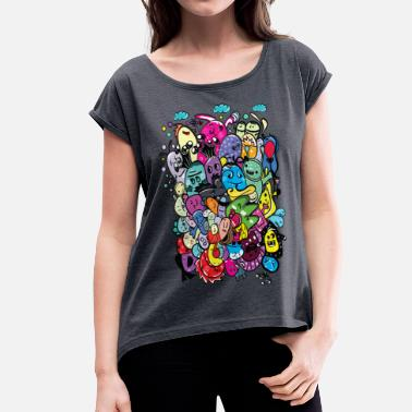 Doodle monster friends.png - Women's T-Shirt with rolled up sleeves