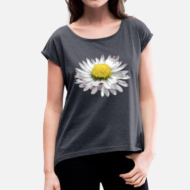 Daisy wonderful daisy, daisy, flower, blossom - Women's T-Shirt with rolled up sleeves