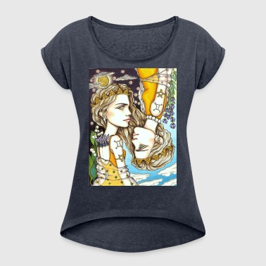 Gemini Girl Zwillings - Women's T-Shirt with rolled up sleeves
