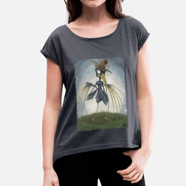 Crow Crowing  - Women's T-Shirt with rolled up sleeves