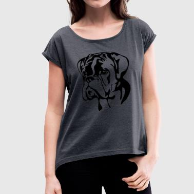 Police Dog BOXER PORTRAIT - Women's T-Shirt with rolled up sleeves