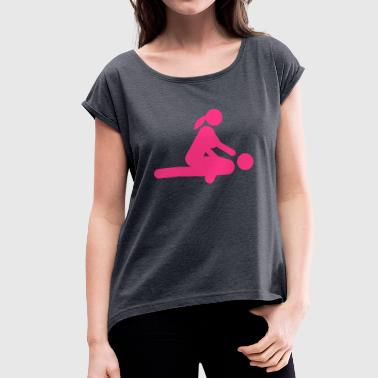Sex icon position love 15022 - Women's T-shirt with rolled up sleeves