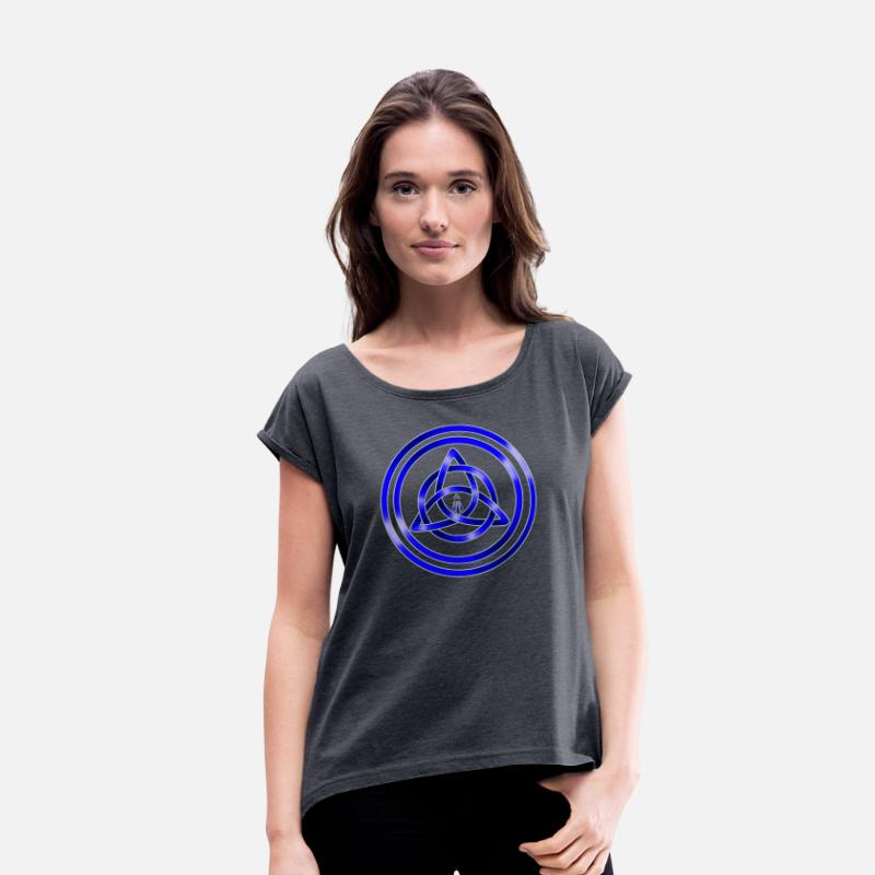 Druid T-Shirts - Awen Triqueta - Women's Rolled Sleeve T-Shirt navy heather