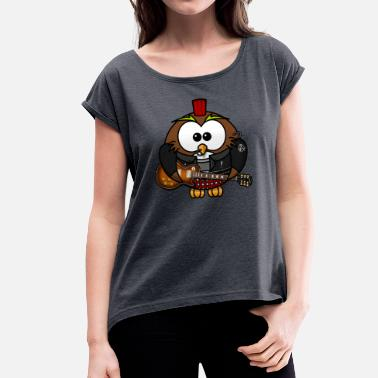 Punk Baby Punk Owl - Women's T-Shirt with rolled up sleeves