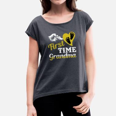 Grandma Grandmother grandmother announcement baby granny child grandson - Women's T-Shirt with rolled up sleeves