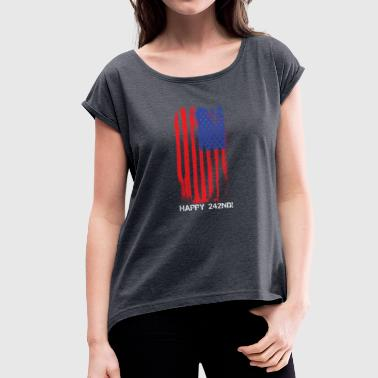 USA Faded Flag Fourth Of July - Women's T-Shirt with rolled up sleeves