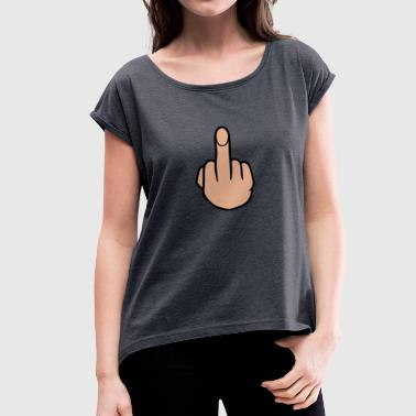 middle finger - Women's T-Shirt with rolled up sleeves