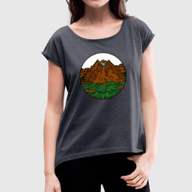 Vulcan with lake - Women's T-Shirt with rolled up sleeves