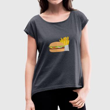 Hodetelefoner burger pommes love food gift idea gift - Women's T-Shirt with rolled up sleeves
