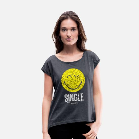 Emoji T-Shirts - SmileyWorld Single Smiley - Women's Rolled Sleeve T-Shirt heather navy