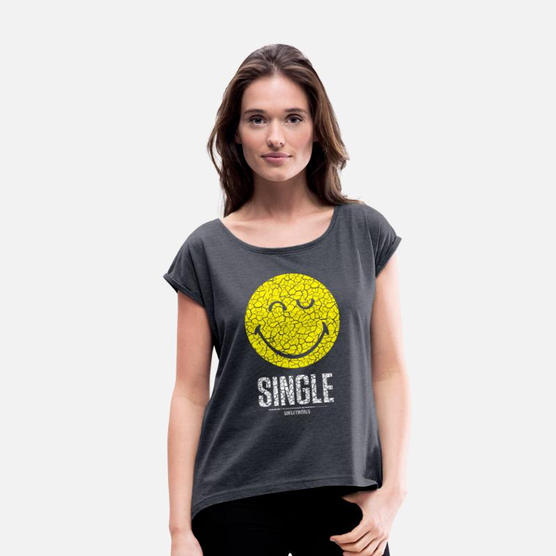 Bestsellers Q4 2018 T-Shirts - SmileyWorld Single Smiley - Women's Rolled Sleeve T-Shirt navy heather