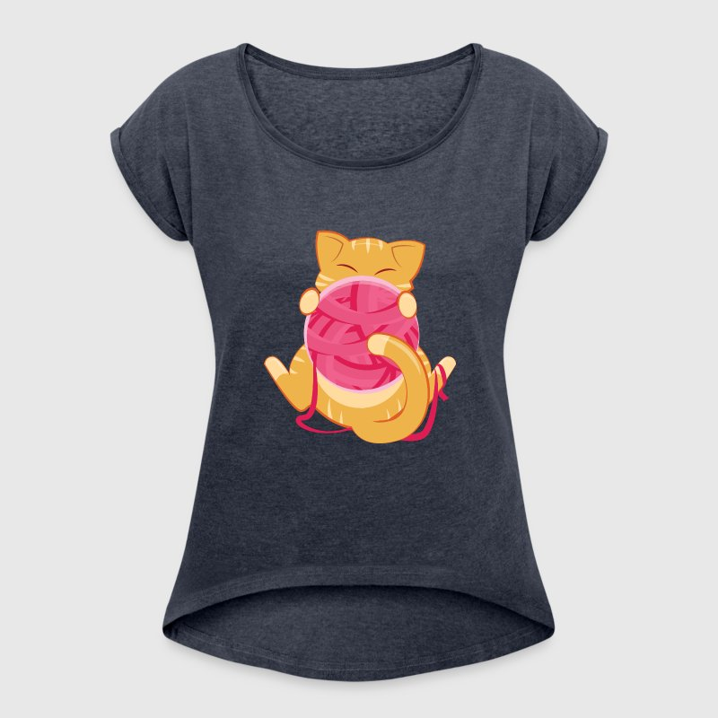 Cat Playing WIth Ball Of Yarn - Women's T-shirt with rolled up sleeves