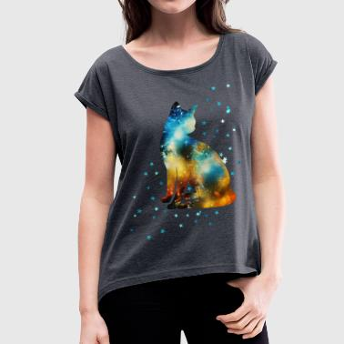 Space Pussy on the Milky Way, Galaxy, Cat, Star - Women's T-shirt with rolled up sleeves