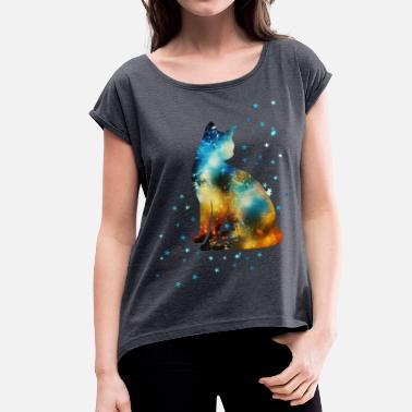 Katze Weltall Space Pussy on the Milky Way, Galaxy, Cat, Star - Frauen T-Shirt mit gerollten Ärmeln