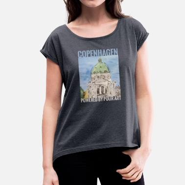 Paint Pouring Marmorkirken city Pour art - Women's T-Shirt with rolled up sleeves