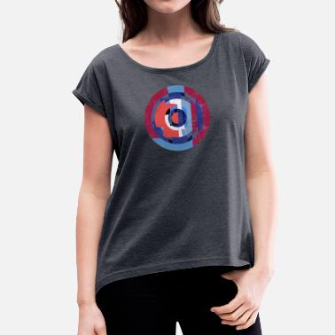 Arty Circle design abstract colour 004 - Vrouwen T-shirt met opgerolde mouwen