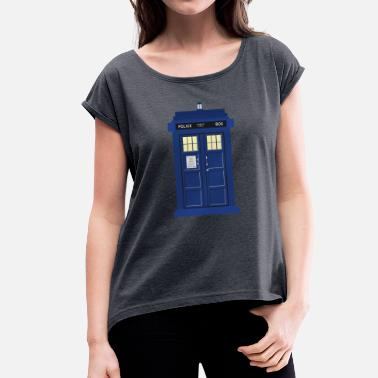 Tardis print Doctor Who - Women's T-Shirt with rolled up sleeves