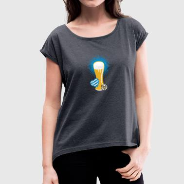 wheat beer glass - Women's T-Shirt with rolled up sleeves