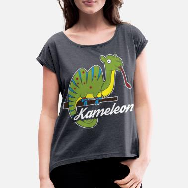 Kameleon Chameleons, Iguana or Kameleon - Women's T-Shirt with rolled up sleeves