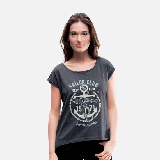 Birthday T-Shirts - Sailor Club - Women's Rolled Sleeve T-Shirt heather navy