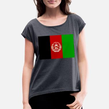 Central Asia Afghanistan flag - Women's Rolled Sleeve T-Shirt