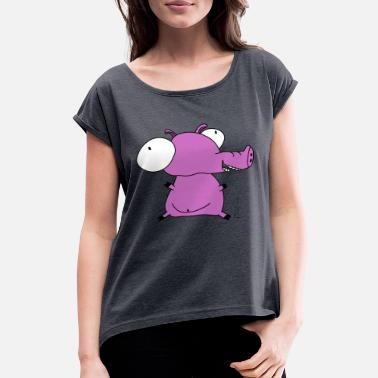Viktor Viktor the Pig - Women's T-Shirt with rolled up sleeves