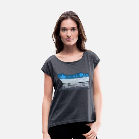 Seafood T-Shirts - SEA - Women's Rolled Sleeve T-Shirt heather navy